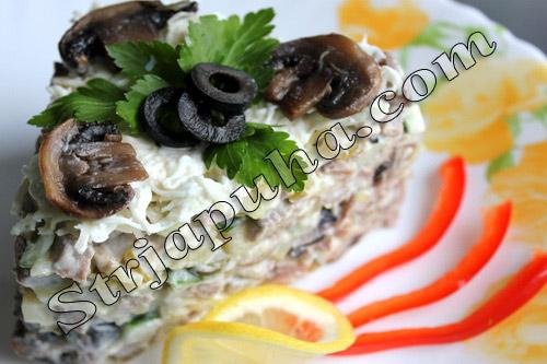 Салат из говяжьего языка с грибами и огурцом