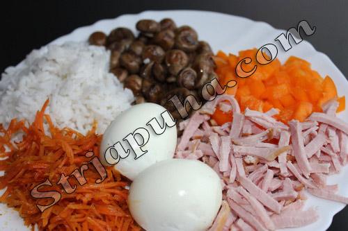 Салат с ветчиной, грибами и морковкой по-корейски