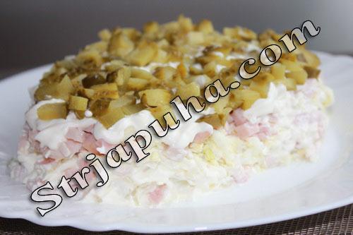 Салат мясной «Кедровая шишка» с куриным рулетом