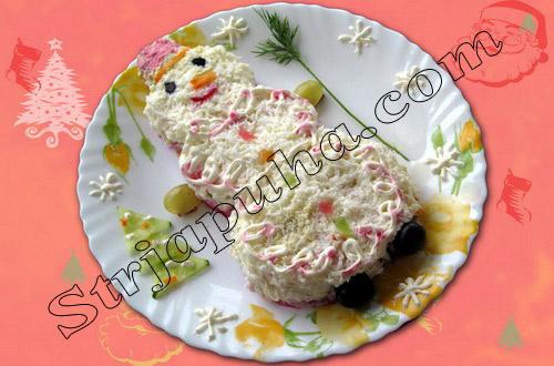 Салат мясной «Снеговик»