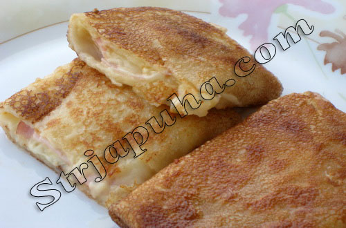 Тонкие блинчики с сыром и ветчиной или шаурма по-русски